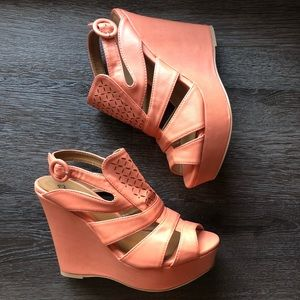 Cupid orange wedges, wedge heels